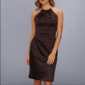 Eliza J Choker Chain Halter Satin Sheath Dress